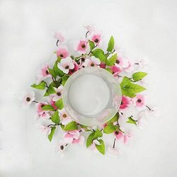 Stellar Performance Pink Dogwood Candle Ring Centerpiece Table Top Decoration for Spring Summer  ...