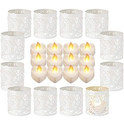 Sumind 12 Pieces LED Tealight Candles Heart Electric Fake Candle and 12 Pieces Paper Candle Hold ...