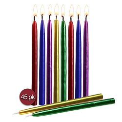 Hyoola Multicolor Metallic Birthday Candles – 45 Pack – Dripless Decorating Candle for Cen ...