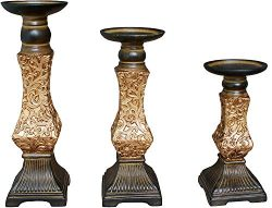G-mart Set of 3 Resin Pillar Candle Holders -12″ H,10″ H,8″ H
