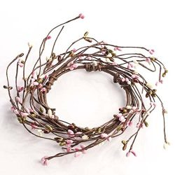 Set of 6- Spring Blossom Pink Green & White Pip Berry Candle Rings
