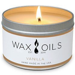 Wax and Oils Soy Wax Aromatherapy Scented Candles, Vanilla, 8 oz