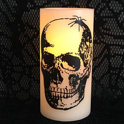 Halloween Flameless Candle Pillars Skull Head Set of 2 Spooky Decoration
