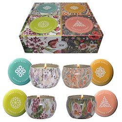 Big Aromatherapy Scented Candles Fresh Citrus, Warm Amber, Wild Mint, Sweet Basil Essential Oils ...