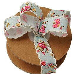 Vintage Floral Shabby Chic Ribbon – 1″ x 10 Yards, Victorian Soft Blue Ribbon with P ...