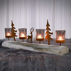 Rustic Wood Candle Holders, Tealight Candle Holder with Metal Deer in The Forest on 19″ L  ...