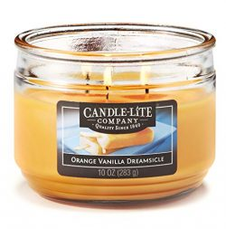 Candle-Lite Everyday Scented Orange Vanilla Dreamsicle 3-Wick Jar Candle, 10 oz, Yellow