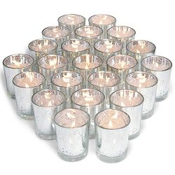 Volens Silver Votive Candle Holders, Mercury Glass Tealight Candle Holder Set of 72