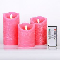 Kitch Aroma Pink Flameless Candles Battery Operated with Moving Flame Wick Flickering LED Pillar ...