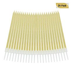 Aplusplanet 24 Count Gold Birthday Cake Candles, Metallic Long Thin Cake Candle in Holders for C ...
