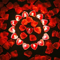 Tatuo 50 Pieces Heart Shape Candles Romantic Tealight Candles and 200 Pieces Silk Rose Petals Ar ...