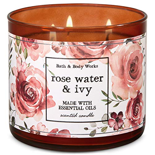 Bath and Body Works Rose Water & Ivy 3-Wick Candle 14.5 Ounce (2019 Limited Edition)