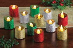 KNLSTORE Set of 12 LED Candle Light Glitter Sparkle Flameless Flickering Battery Operated Red Gr ...