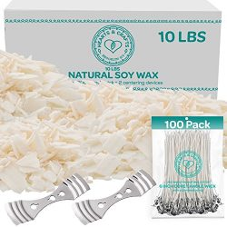Hearts and Crafts Soy Candle Wax and Wicks for Candle Making, All-Natural – 10lb Bag with  ...
