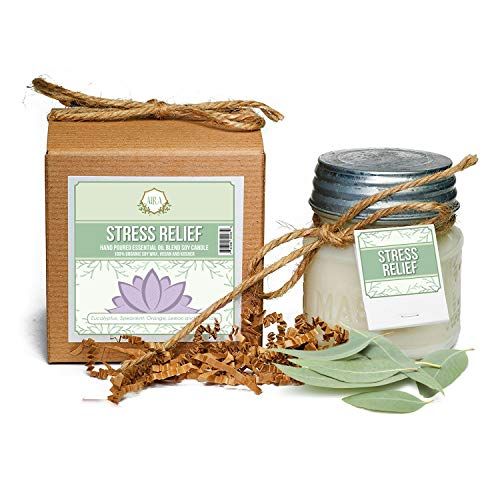 Aira Soy Candles – Organic, Kosher, Vegan, in Mason Jar w/Therapeutic Grade Essential Oil  ...