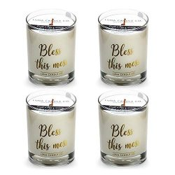 Luna Candle Co. Fresh Linen Scented Jar Candle, Elegant 11oz Glass, Soy Wax, Hints of Apple Blos ...
