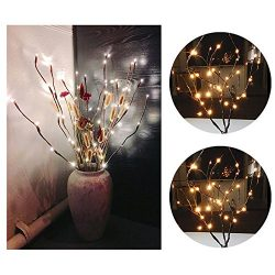 Pausseo Christmas LED Willow Branch Lamp Floral Lights 20 Bulbs Set Warm Soft Light Party Garden ...