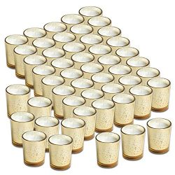 Simplicite Glass Votive Candles Unscented Set of 48 in Mercury Gold Speckled Finish | Break Proo ...
