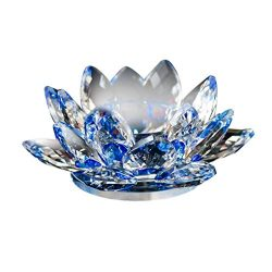 Mikey Store Mothers Day Crystal Tea Light Candle Holders, Lotus Flower Decorative Candle Shade f ...