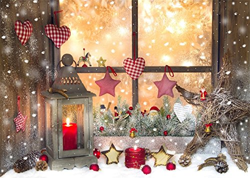 Leowefowa 7X5FT Vinyl Photography Backdrop Christmas Lantern Star Heart Candle Pine Cone Vintage ...