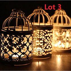 3 Vintage Metal Hollow Hanging Bird Cage Candle Holder Candlestick Lantern Decor