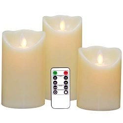 Eldnacele Flameless Candles Pillar Flickering Dancing Flame Battery Operated LED Candles Warm Wh ...