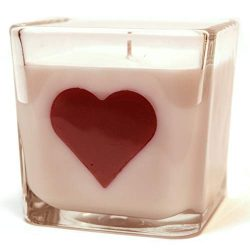 Amber Romance, 10oz Soy Heart Candle in a Beautiful Square Jar, Perfect for Mothers Day!