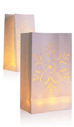 Surethingz 60-Set Luminary Paper Fujiwara Candles Bag, Fire Resistant Paper Decoration for Weddi ...