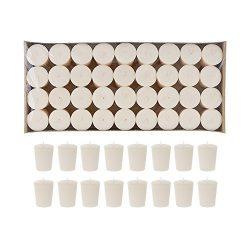 Mega Candles 72 pcs Unscented Ivory Votive Candle | Pressed Wax Candles 15 Hours 1.5″ x 2. ...