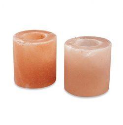 Zennery Himalayan Salt Candle Holder (Cylinder Shape- Set of 2)