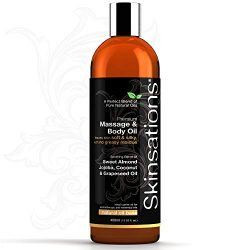Skinsations – All Natural Massage & Body Oil – Unscented 16oz | Relaxing Muscle  ...