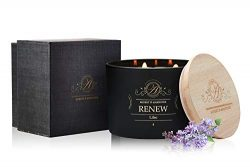 Aubert & Amandine RENEW Aromatherapy Lilac Scented Soy Candle w 3 Wick Stress Relief Candles ...
