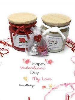 Marcella Candles Love & Happiness Valentine's Day Gift Set, Comes With 16oz Rose & ...