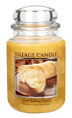 Village Candle Warm Buttered Bread 26 oz Glass Jar Scented Candle, Large