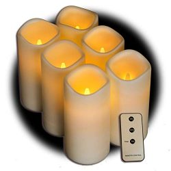 Set of 6 Outdoor 3×6 Waterproof Resin Candles with Timer and Remote and C Batteries Included