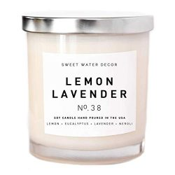 LEMON LAVENDER WHITE JAR SOY CANDLE 11oz | Handmade in the USA with 100% Soy Wax | Lemon Lavende ...