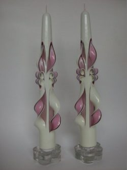 Hand-Carved Taper Candles (Pink/Burgundy/Creme)