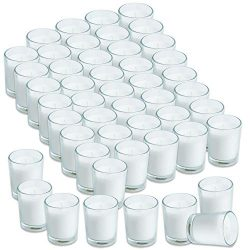 Simplicite Glass Votive Candles Unscented Set of 48 in White | Finest Wax Blend & Cotton Wic ...