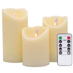 DRomance Flameless Flickering Candles Battery Operated with Timer and Remote, Ivory Real Wax Mov ...