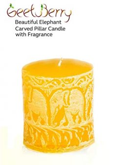 GeetuBerry Beautiful Elephant Carved 3×3 Pillar Candle with Fragrance (Yellow) | Sandalwood ...
