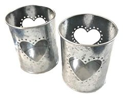 2 Ct Heart Cut Out Tin Can Candle Holders, 4″ Tall, Wedding Tabletop Party