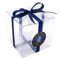 "Gechtas 20Pcs PET Crystal Clear Cube Gift Boxes, 3""x3""x3"", Food Safe, 0.3mm Thick, with Navy Blu ..."
