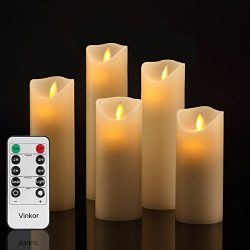 Vinkor Flameless Candles Battery Operated Candles Set Decorative Flameless Candles: 4″ 5&# ...
