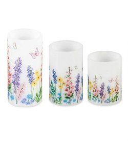 Plow & Hearth Flameless Pillar Candles with Floral Designs, Set of 3 one Each 3 Dia x 4, 5,  ...