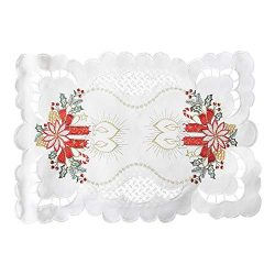 Bone & Tissue Christmas Embroidered Placemats, Set of 4 Lace Christmas Poinsettia and Candle ...
