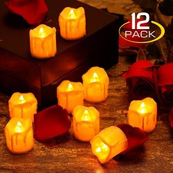 zerproc Warm Yellow Candle Lights, LED Flameless LED Candle Lights with Battery Powered, Wax Dri ...