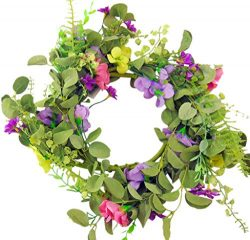Westman Works Spring Floral Candle Ring Wreath for Pillar Candles with Purple Yellow and Pink Fl ...
