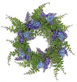 Spring or Summer Lavender and Fern 12″ Wreath or Candle Ring