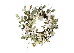 RAZ Imports 10″ Artificial Cotton and Eucalyptus Candle Wreath