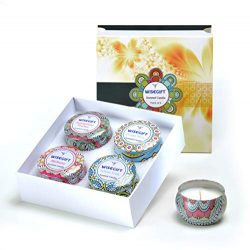 Wisegift Scented Candles Gift Set of 4, 100% Natural Soy Wax Portable Travel Tin, or Use for Wed ...